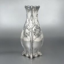 Antique French Gallia Silver Plate Vase, Chrysanthemums, Art Nouveau Period