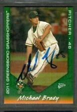 2011 Multi-Ad Greensboro Grasshoppers #5 Michael Brady Card Signed Autograph