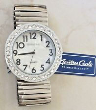 MONTRES CARLO SILVER WOMEN'S WATCH EASY READ CRYSTAL OVERSIZE DIAL STRETCH BAND!