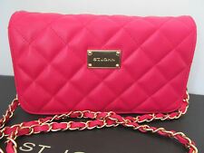 NWT St John knit handbag pink quilted leather