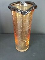 Vintage Murano Italian Art Glass Gold & Brown Scalloped Turned Glass Vase 9 x 3