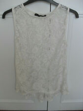 Ladies Atmosphere cream sleeveless lacy blouse top with shaped dip hem - Size 10