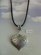 "A Love Heart Tibetan Silver Charm, Long ( 30"" ) Black Cord Chain Necklace,"