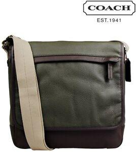 Coach F70973 Camden Gunmetal/Fatigue/Dark Mahogany Leather Map Bag - MSRP $348