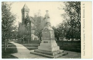 Postcard - Watertown, SD Court House & 1899 Spanish Am. War Company H Monument