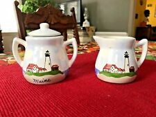 "Hand Painted ""Maine"" Lighthouse Creamer & Sugar Bowl Made in Canada"