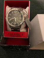 Caravelle New York 43A115 Men's Round Gray Chronograph Analog Stainless Watch