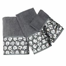 Popular Bath Sinatra Silver 3 Piece Bath Towel, Hand Towel and Wash Cloth Set