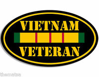 """OVAL VIETNAM VETERAN RIBBON 5"""" MILITARY MADE IN USA  DECAL STICKER"""