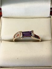 Solid 14k Yellow Gold Baguette Cut Amethyst Ring Size P