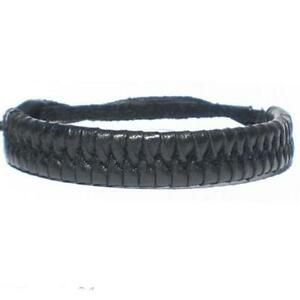 BLACK REAL LEATHER ADJUSTABLE WOVEN FRIENDSHIP BRACELET WRISTBAND TIE ON STRAP