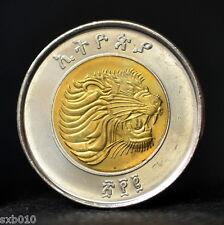 Ethiopia 1 Birr 2010.  km78.  Bimetallic coin. African animals - lion. UNC