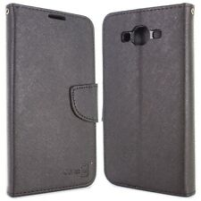Black Phone Cover for Samsung Galaxy On7 Card Case Holder Folio Pouch