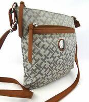 Tommy Hilfiger Tasche Damen grau silber Logoprint Crossbody braun