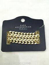 Zara BNWT Oro y Beige Imitación de Cuero y cadena pulsera 100% Original