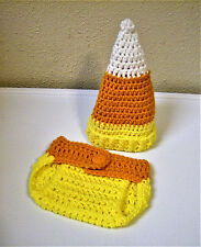 Newborn Baby Candy Corn Hat and Diaper Cover-Hand Crochet-Halloween Photo Prop