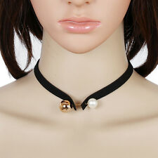 Double Big Small Alloy Pearl Ball Black Suede Leather Choker Necklace Pendant