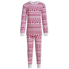 Cuddl Duds - Girls S (6-6X) - Pink Heart Pajama Thermal Base Layer Top/Pants Set