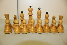 Wooden Vintage Chess Pieces in the Cardboard Box. USSR