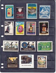 POSTER STAMPS, A COLLECTION OF 14 GERMAN ADVERTISING LABELS