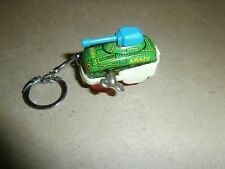 Vintage Tin / Plastic Wind Up Army Tank Keychain Made in Japan
