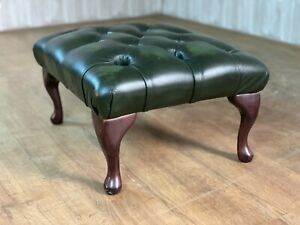 Green Chesterfield Leather Footstool