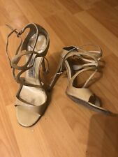 JIMMY CHOO Lang Nude Beige Patent Leather Strappy Cross Heels Size 39!!! SHARWEI