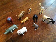 10 PLASTIC MINIATURE animals,lemur,giraffe,hippo,ram,gorilla,dog,cow