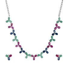 925 Sterling Silver Ruby Sapphire Emerald Gemstone Earrings Necklace Jewelry Set