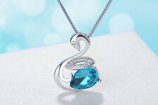 Swan Crystal Pendant Necklace 925 Sterling Silver Chain Womens Girls Jewellery