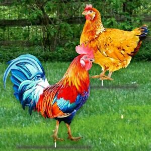 """Set of 2 Metal Colorful Chicken Rooster Rustic Farm Yard Garden Stakes 23""""'H"""