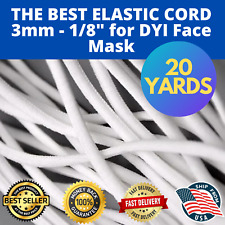 "BEST Elastic Cord 3mm 1/8"" 20 yards,Face Mask,Spandex ,Round Comfortable Elastic"