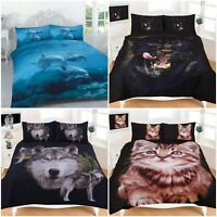 3D ANIMAL DUVET QUILT COVER BEDDING SET WITH PILLOW CASES SINGLE DOUBLE KING