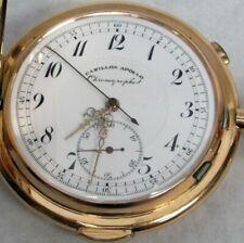 CARILLON APOLLO 14K GOLD 1/4 MINUTE REPEATER CHRONOGRAPHE HUNTER POCKET WATCH