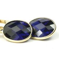 SEPTEMBER • E101 10x8mm Created Blue Sapphire 14k Yellow Gold Leverback Earrings