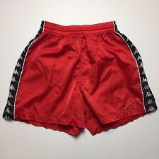 Vintage 80s Kappa Soccer Running Shorts Red Logo Mens Nylon Retro Size Small
