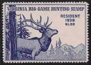 Virginia VA Hunting Stamp Big Game Hunting 1 1938 Resident $1.00