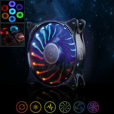 Adjustable RGB Light 7 Colors LED 120mm 3pin/4pin PC CPU Case Silent Cooling Fan