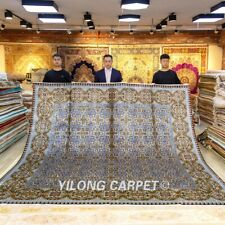 Yilong 10'x10' Square Silk Rug Handmade Carpets All Over Handcraft Footcloth 419