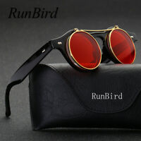 Round Sunglasses Clip On SteamPunk Style Removable Lens Design Vintage Fashion