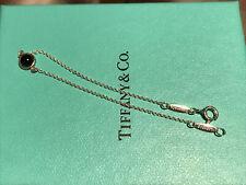 """Tiffany & Co. Silver Single Chain T Bracelet With Onyx Stone 6"""" w/pouch bag"""