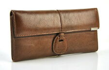 Women Genuine Real Leather Trifold Wallet Purse Purse Card Holder Coin Bag Brown