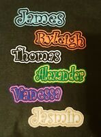 Personalised Embroidered Name Patch Badge E1 Iron on sew on