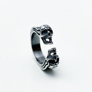 SMALL DAINTY 925 STERLING SILVER SKULL BIKERS RING CUTE RESIZABLE ADJUSTABLE