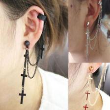 New Rock Punk Crosses Dangle Black Gold Silver Chain Ear Wrap Cuff Clip Earring
