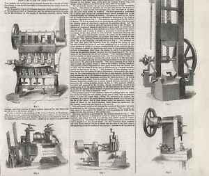 OLD ANTIQUE 1856 ENGRAVING PRINT MACHINERY FOR THE MANUFACTURE OF BAYONETS S2