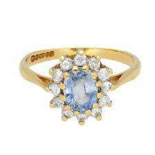 18Carat Yellow Gold 0.50ct Tanzanite & 0.25ct Diamond Cluster Ring (Size J 1/2)