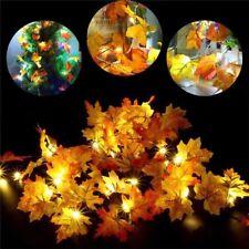 Warm White 10 LED Harvest Fall Leaves Garland Lights String Thanksgiving Decor