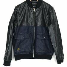 VOI JEANS Men's Jacket Size Medium Black Faux Leather-Denim AB2