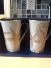 222Fifth Coastal Life Gold 2 Tall Latte Mugs New In Box